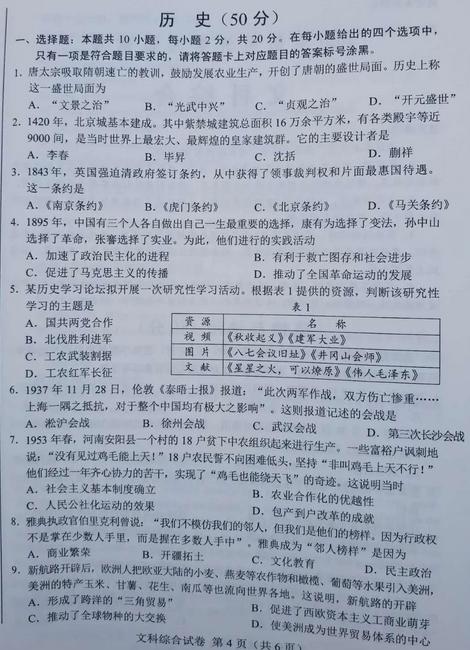 2020年内蒙古包头中考历史真题(已公布)